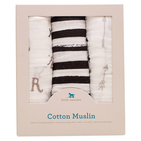 3 Pack Cotton Muslin Swaddle Blankets - Monochrome Black & White