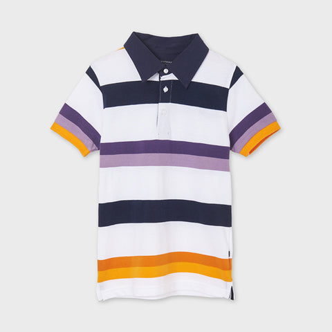 6105 Mayoral Boys Grape Polo Striped Short Sleeved Shirt