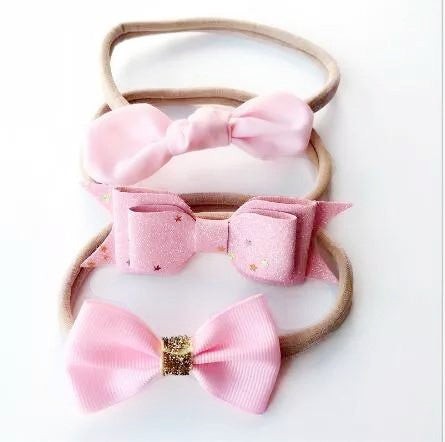 3 PC Handmade Headband Set - Sweet Pea Pink