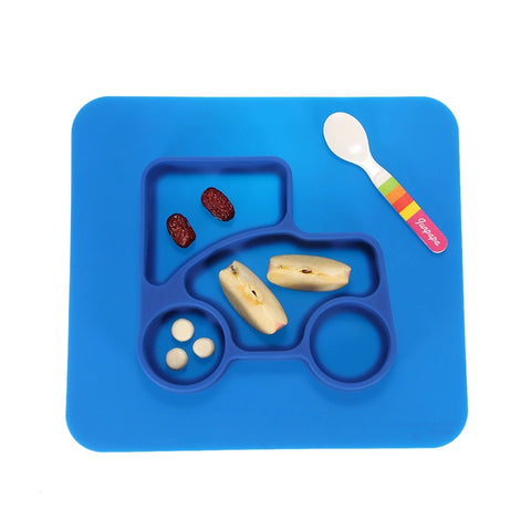 Silicone Bowl + Placemat All-In-One, Blue Car