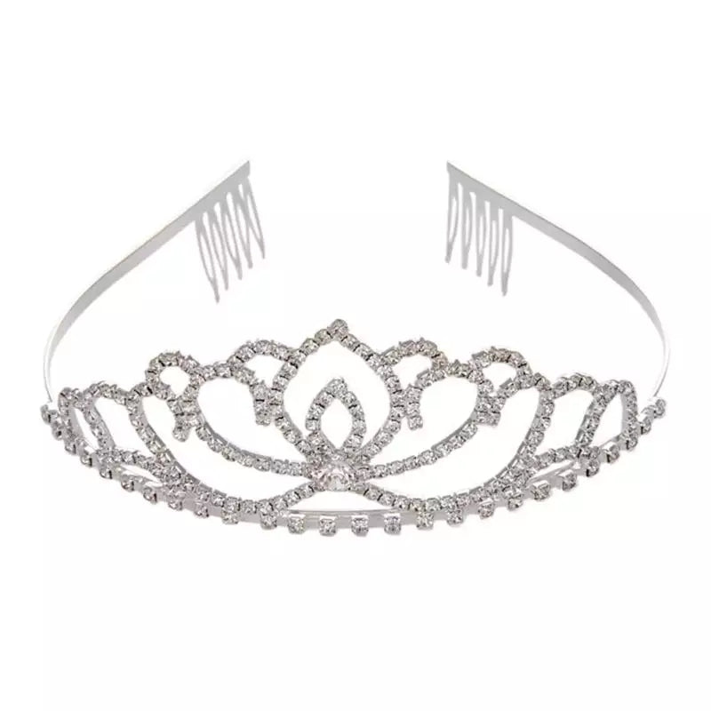 girls crystal tiara birthday crown, baptism, dedication jewels