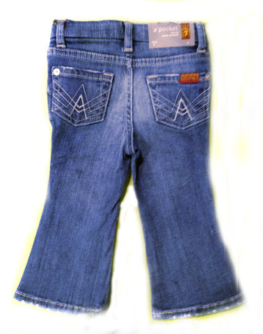 "Designer Kids Jeans - 7 For All Mankind - Girls ""A"" Pockets, Boot Cut, Light Wash"