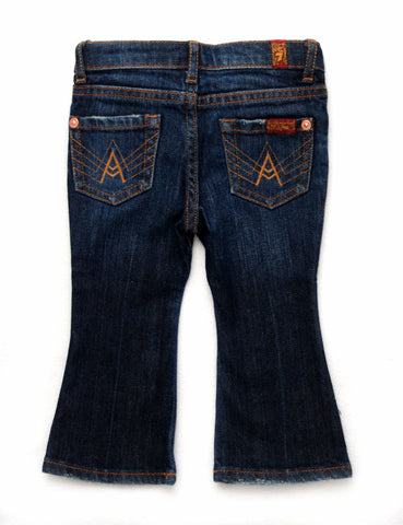 "Designer Kids Jeans - 7 For All Mankind - Girls ""A"" Pockets, Boot Cut, NY Dark"