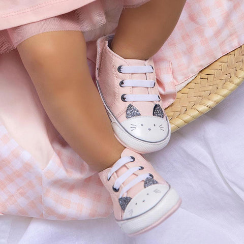 9410 Mayoral Baby Girls Pale Blush Kitty Sneakers