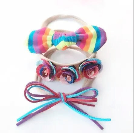 Handmade Nylon No Snag Headband / Pony Tail Ties - Rainbow Brights