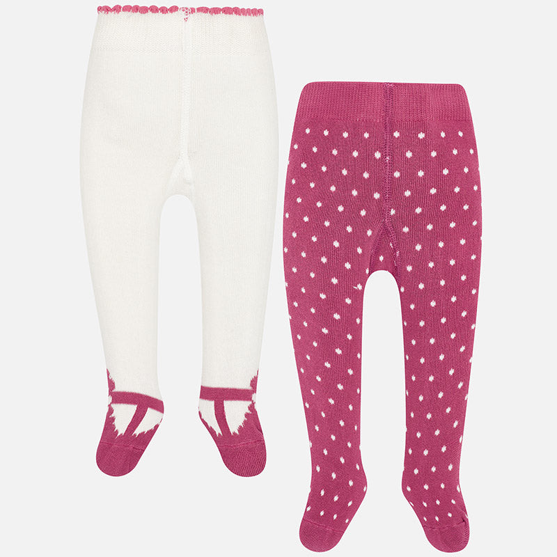 9888 Baby Girls Knit Tights, 2 Pair Pack, Orchid Pink Dots & Mary Janes