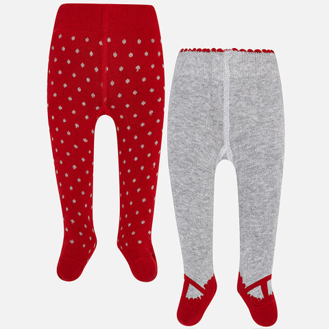 9888 Mayoral Baby Girls Knit Tights, 2 Pair Pack, Red & Grey Dots and Mary Janes