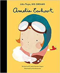 Little People, Big Dreams, Amelia Earheart Book with cartoon drawing of Amelia Earheart as cover of the book.