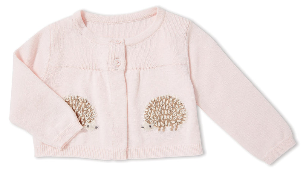 Pink Knit Sweater with 2 buttons and two knitted designed hedgehogs
