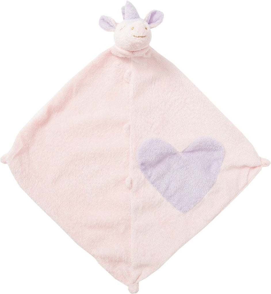 Pink Security Blankie with Unicorn Head and Purple Heart on Pink Blanket