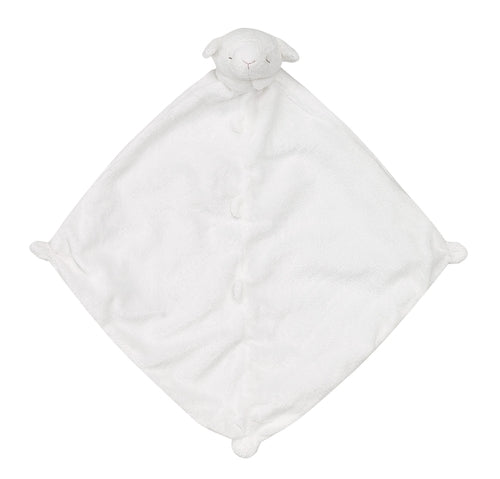 "White Security Blanket with Cute Lamb Head on Blanket; 14"" by 14"""