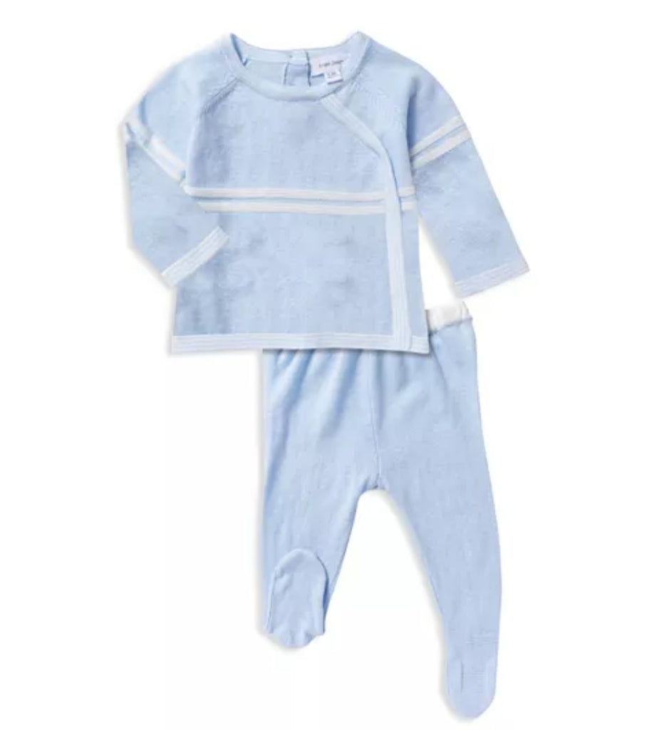 Classic Knit Take-Me-Home Heirloom Knit Footie Set, Baby Blue