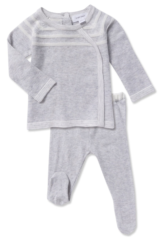 Grey Knit 2 Piece Take Me home PJ set; footie grey bottoms and grey shirt