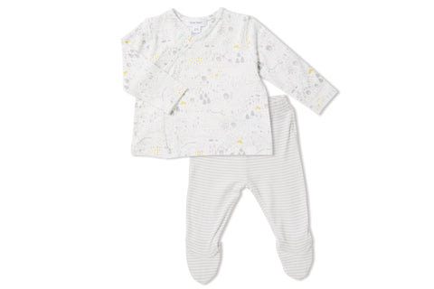 Angel Dear Unisex Take Me Home PJ Set - White with Farm Design