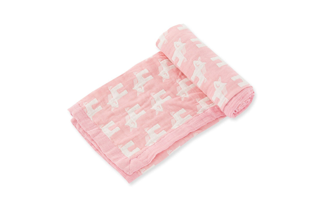White Unicorn Print All Over on Pink Blanket , pink unicorn, jacquard