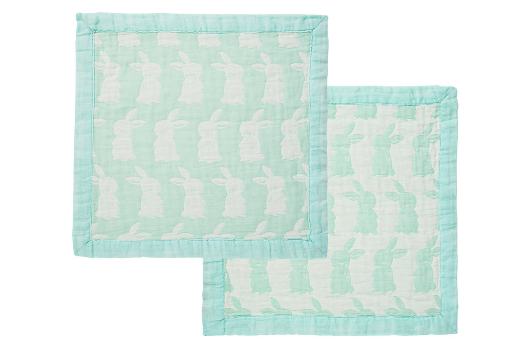 White Bunnies on Mint Green Mini Jaquard Security Blanket; Bunnies are in Front and Back with a Satin Mint Green Border