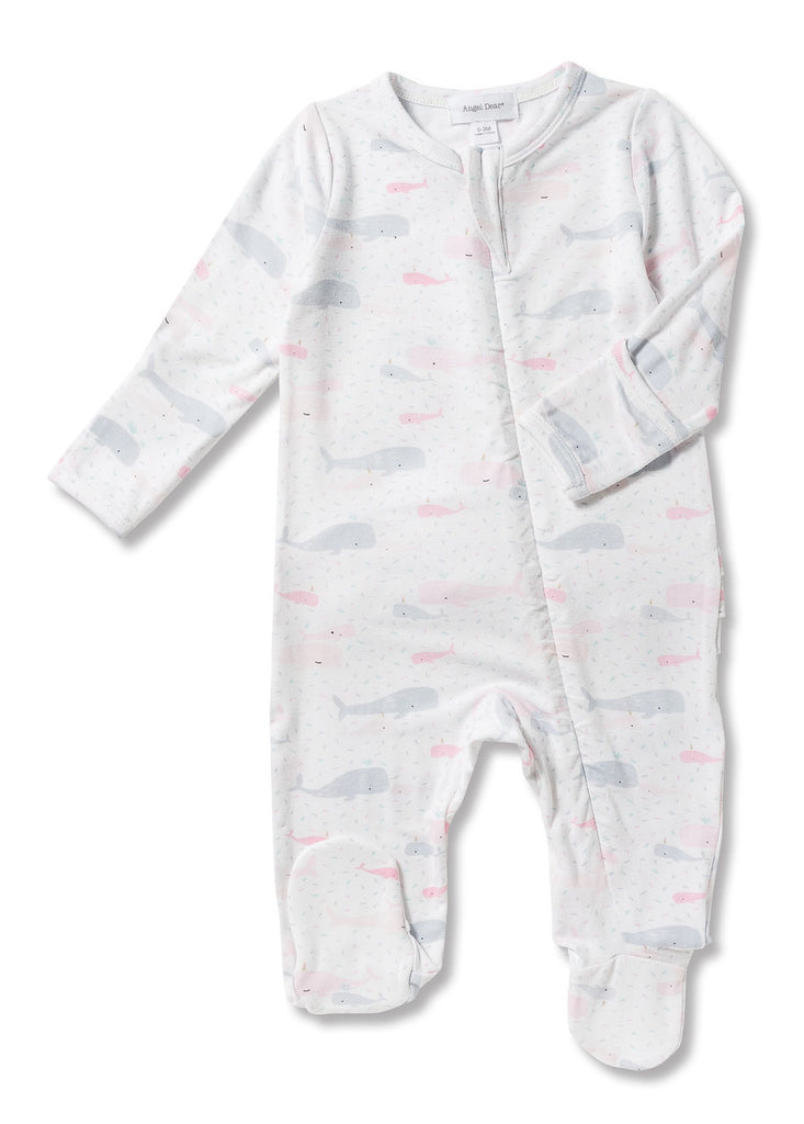 Bamboo baby footie pajamas, pink & grey whales, angel dear