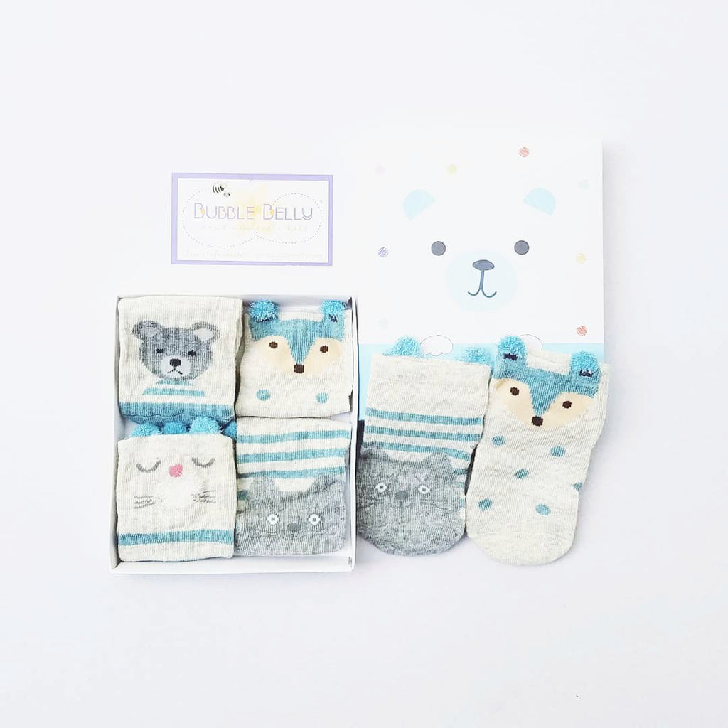 animal character socks for baby and toddlers, boxed gift set, baby shower socks, blue bear