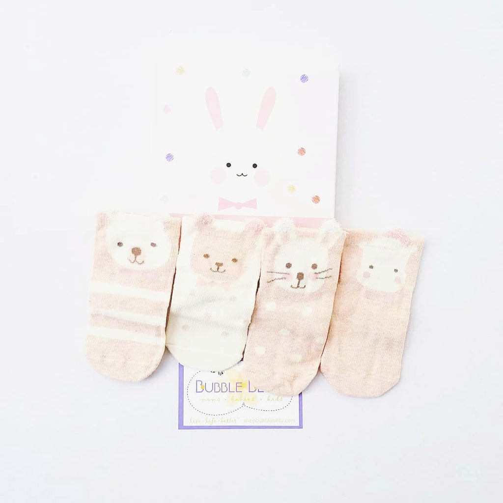 infant animal plush socks, baby gifts, boxed set, bunny socks for girls