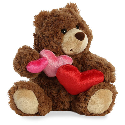 "Aurora Truffle Heart Teddy Bear, Caramel 9"" Plush"