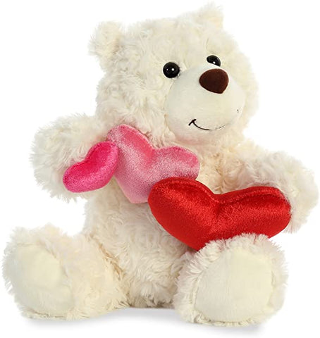 "Aurora Truffle Heart Teddy Bear, Vanilla 9"" Plush"