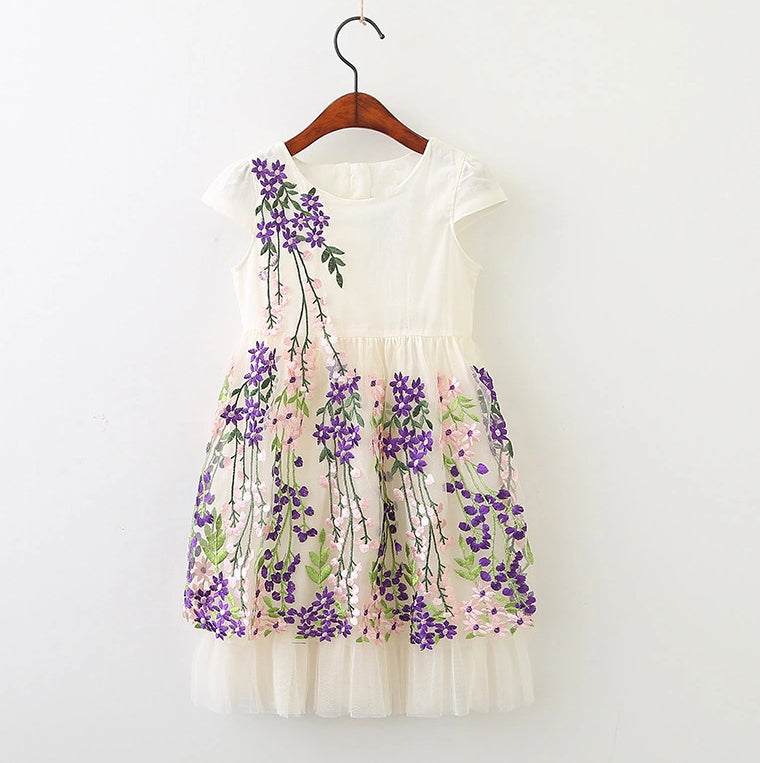 Girls embroidered spring floral dress.  Off white dress with purple and pink flowers.