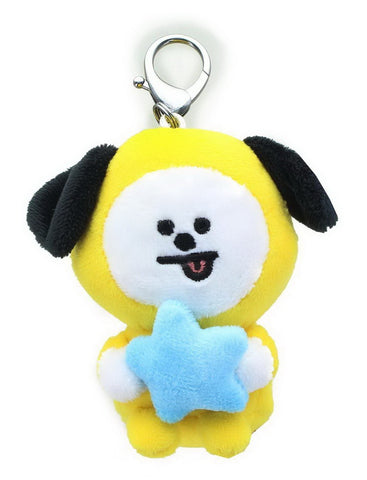 "BT21 Official Line Friends 3"" Plush Bumble Buddy Backpack Bag Clip, Chimmy Puppy"