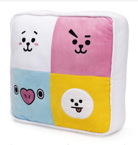 "Official Line Friends BT21 Dual Sided Square Plush Pillow, 12"" x 12"""