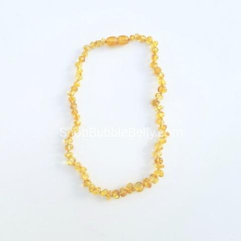 Baltic Amber Teething Necklace - Polished Beads, Honey