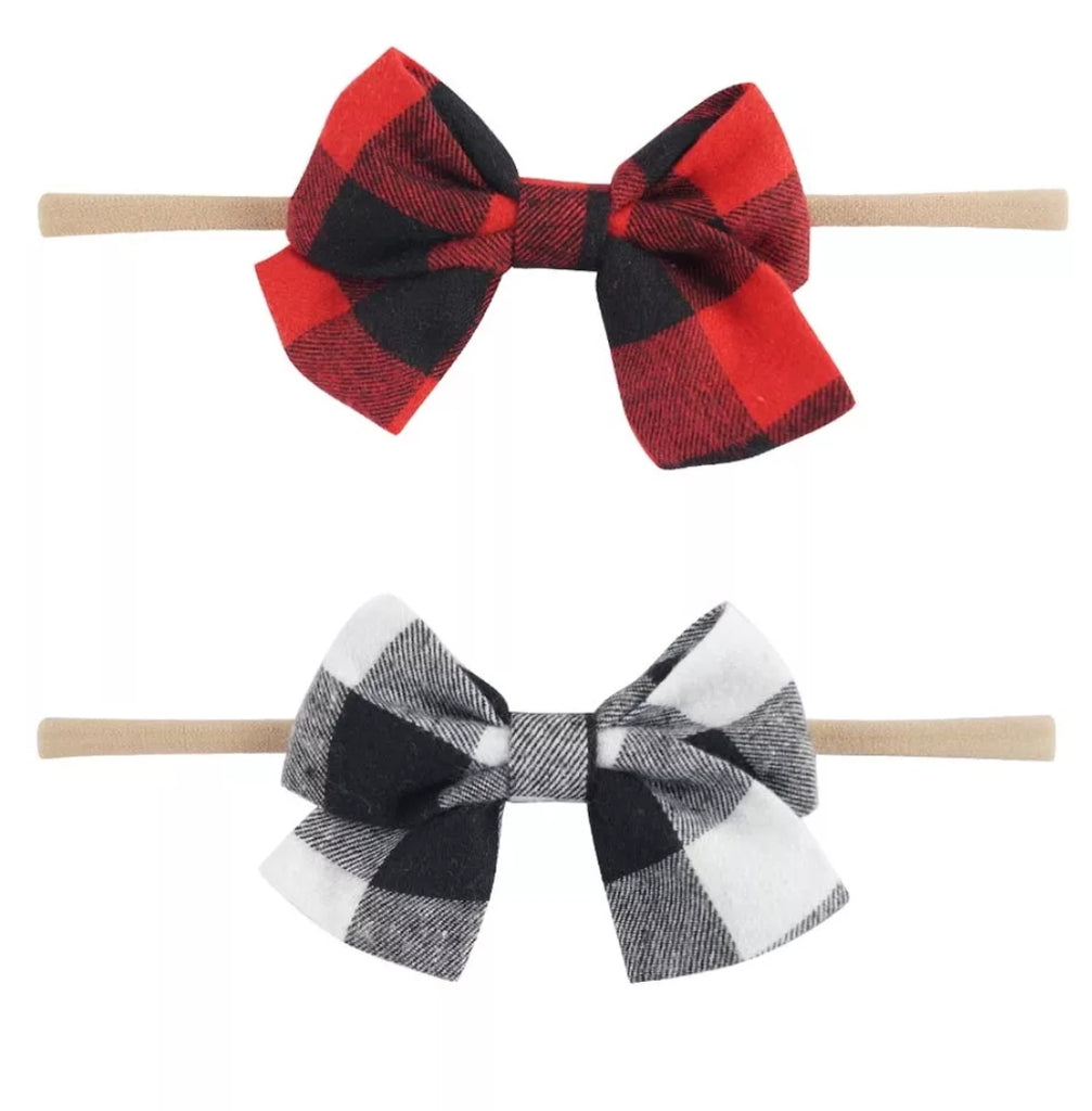 baby girl plaid bow stretch heaband, buffalo plaid bow