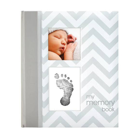 1st Year Baby Journal & Memory Book - Grey Chevron Print