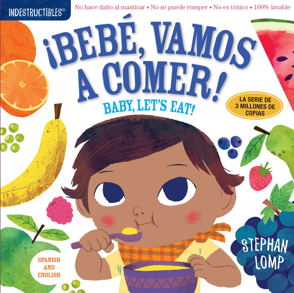 Washable Baby & Toddler Book, Baby Let's Eat, Bilingual - Indestructible Book