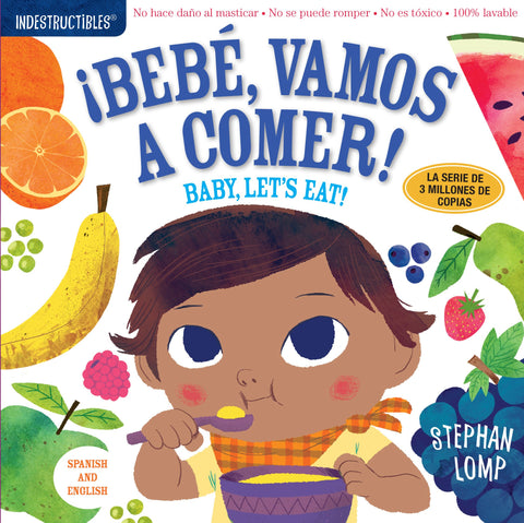 Baby Book - Indestructibles, Washable Book - Baby Let's Eat! - Spanish & English!