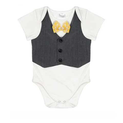 Baby Boy Dress Up Onepiece Bodysuit with Bow Tie & Vest