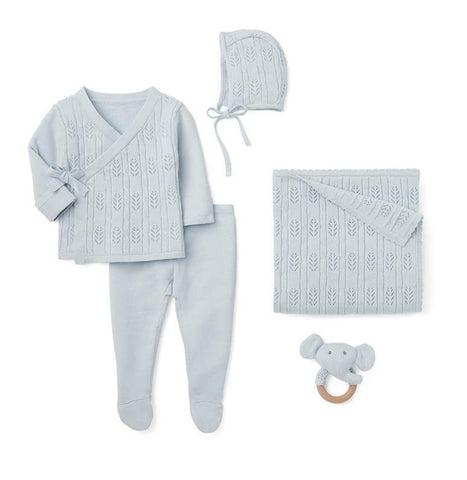 Heirloom Knit Newborn Baby 5 PC Boxed Gift Set - Baby Blue