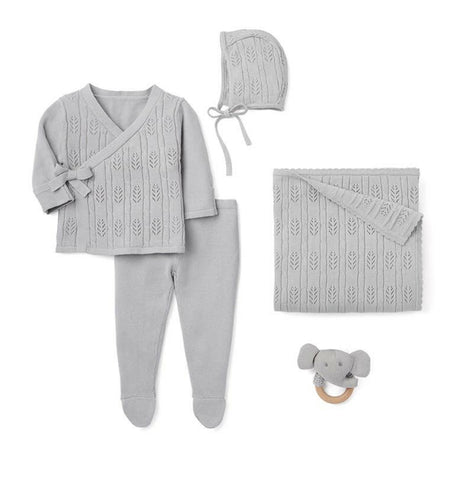 Heirloom Knit Take Me Home Baby 5 PC Boxed Gift Set - Classic Neutral Grey