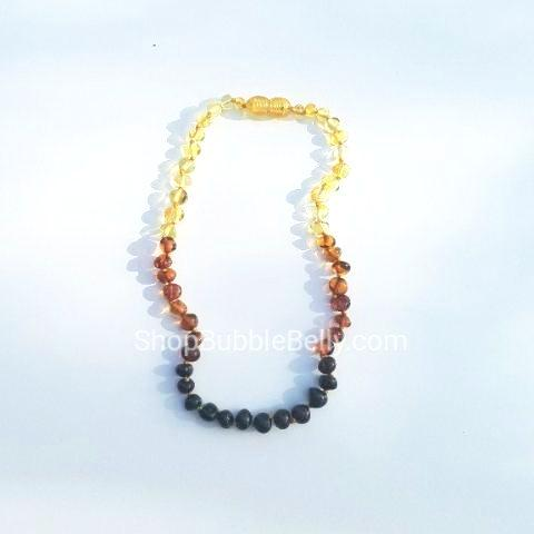 Chew/Teething Accessory - Baltic Amber Teething Necklace - Multi-colored, Ombre Polished Beads