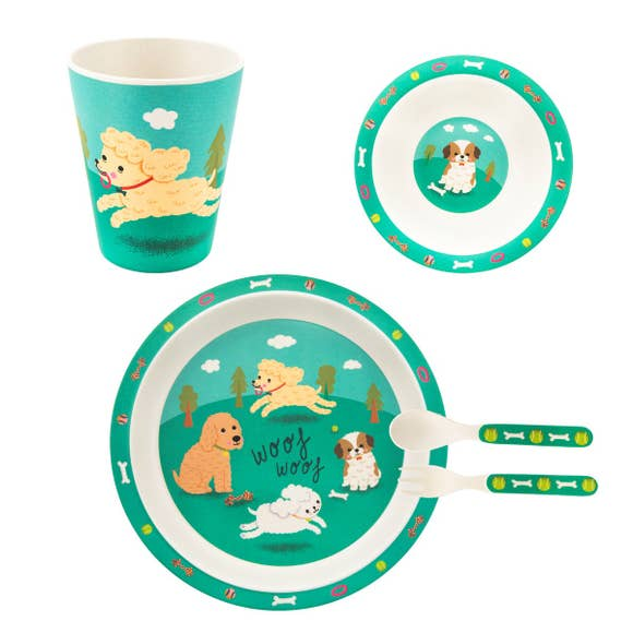 Kids eco-friendly bamboo dinnerware, tableware set, plate, bowl, cup, utensils, puppy
