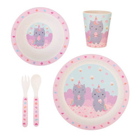Bamboo Sustainable Tableware for Kids - 5 Piece Complete Set Pink Caticorn