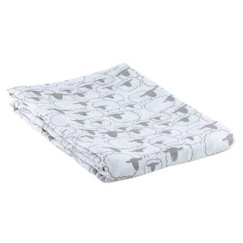 Bamboo swaddle blanket with lambs all over the blanket; unisex