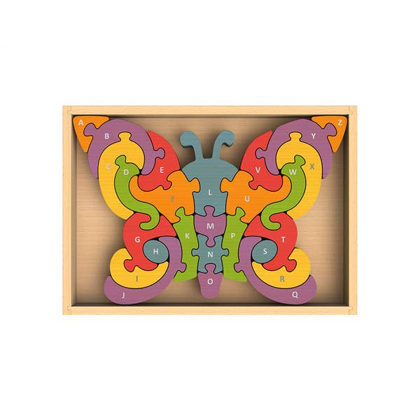 Begin Again Eco-friendly Wooden Chunky Alphabet Butterfly Puzzle