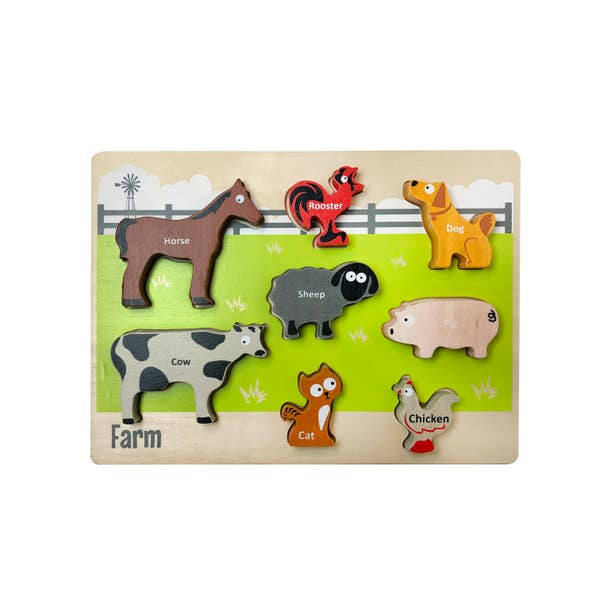 Begin Again Eco-friendly Wooden Chunky Animal Puzzle, 8 PC Farm