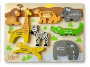 Begin Again Eco-friendly Wooden Chunky Animal Puzzle, 8 PC Safari