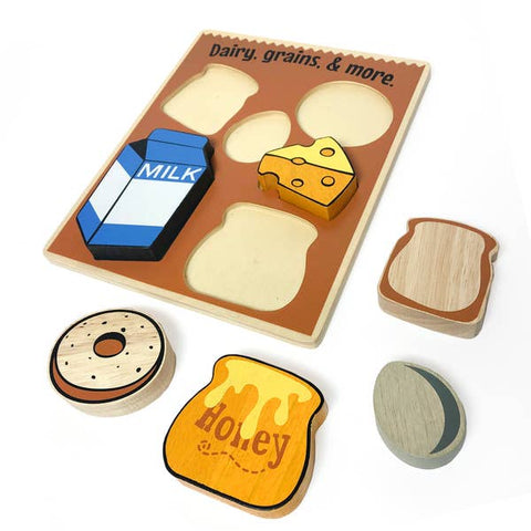 Begin Again Eco-friendly Wooden Food Puzzle, Grains & Dairy