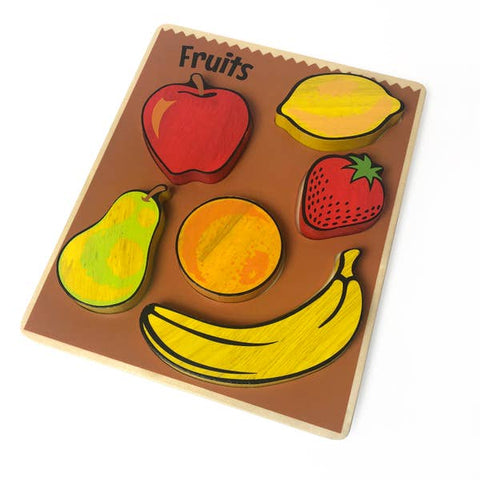 Begin Again Eco-friendly Wooden Food Puzzle, Fruits