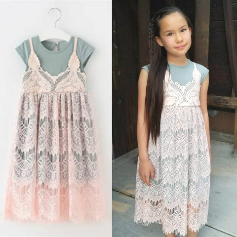 """Bella"", Girls Vintage Lace Overlay T-Shirt Dress, Stone Grey & Pink"