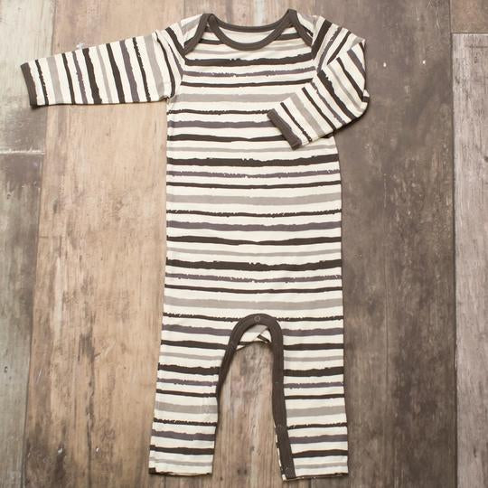 Bestaroo gender neutral pajamas, soft, eco-friendly, grey striped coverall