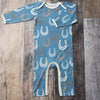 blue horse shoe print modal pajamas, stretch, eco-friendly beech wood pjs for babies