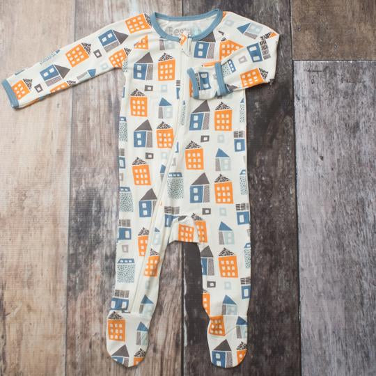 bestaroo footie pajamas with hand covers, house print, gender neutral or for baby boys sleepwear