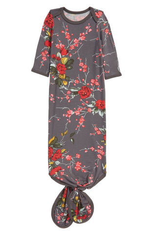 Bestaroo Lux Modal Knotted Sleep Gown - Cherry Blossom Grey